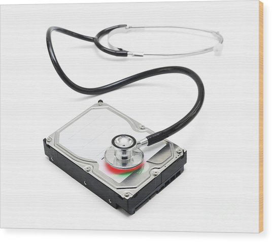 Data Recovery Stethoscope And Hard Drive Disc Wood Print