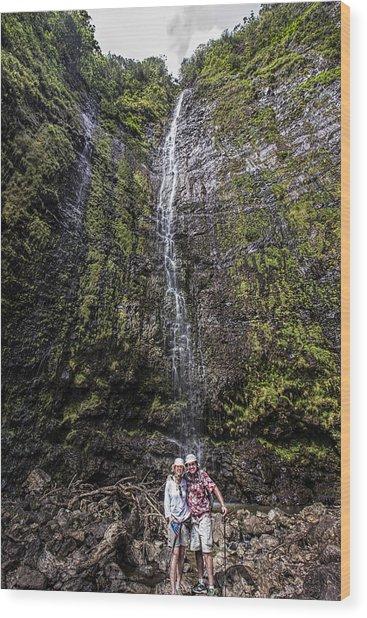 Dave And Elaine At Waimoku Falls Wood Print
