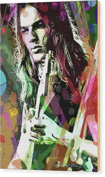 Dave Gilmour Dark Side Wood Print