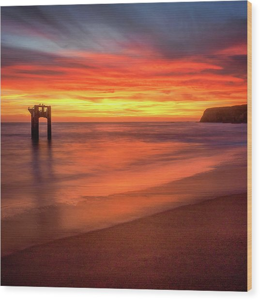 Davenport Sunset Wood Print by Steve Spiliotopoulos
