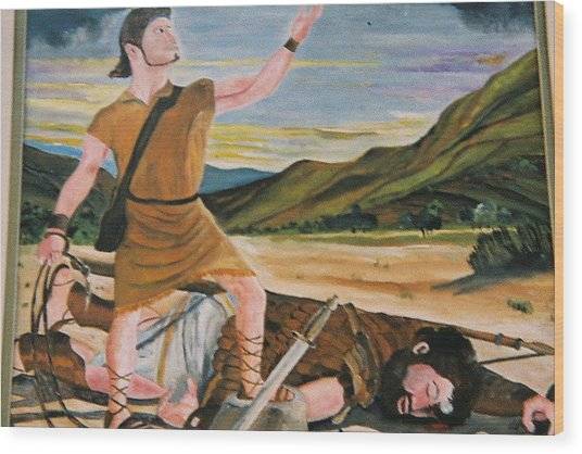David And Goliath Wood Print by Desenclos Patrick