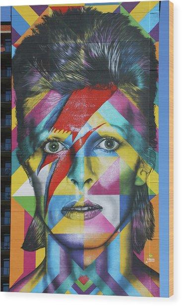David Bowie Mural # 3 Wood Print