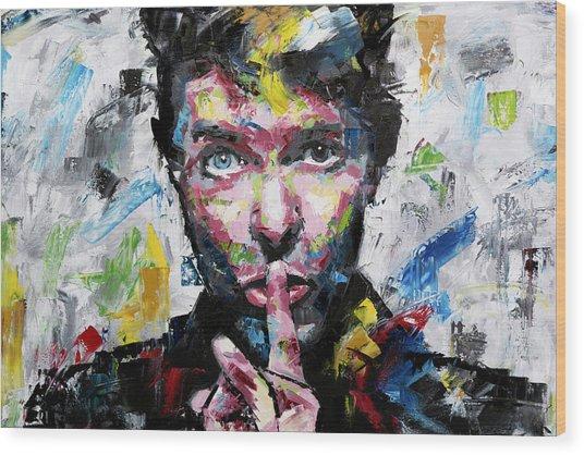 David Bowie Shh Wood Print