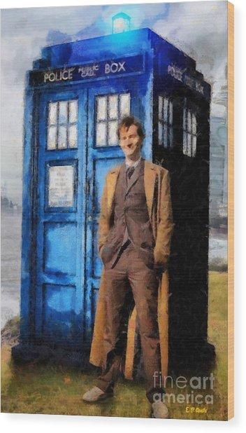 David Tennant As Doctor Who And Tardis Wood Print