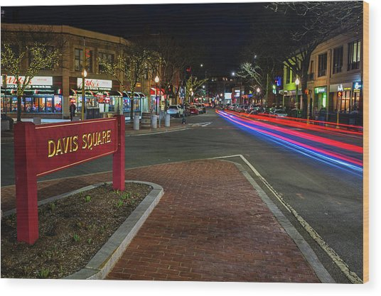 Davis Square Sign Somerville Ma Mikes Wood Print