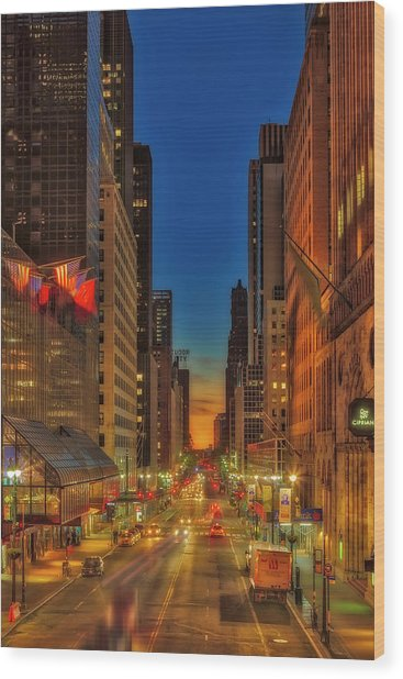 Wood Print featuring the photograph Dawn At 42nd Street Nyc by Susan Candelario