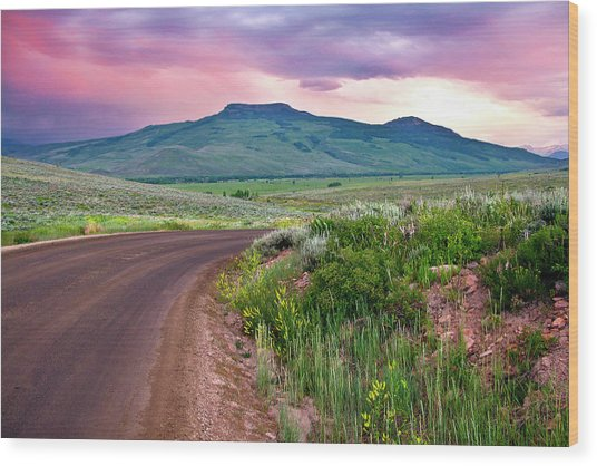 Dawn At Flattop Mountain Wood Print