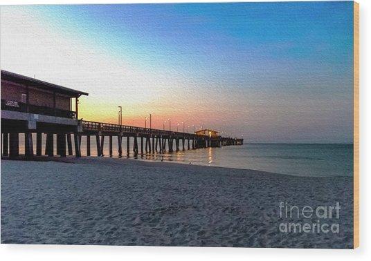 Dawn At Gulf Shores Pier Al Seascape 1283a Digital Painting Wood Print