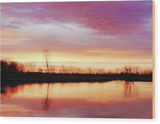 Dawn At Hillside Wood Print