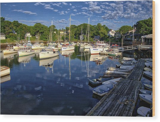 Dawn At Perkins Cove - Maine Wood Print