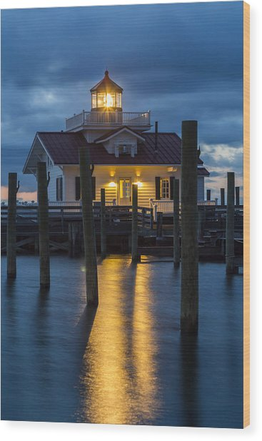 Dawn At Roanoke Marshes Lighthouse Wood Print