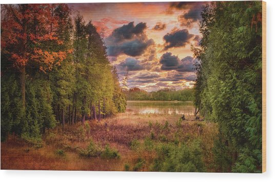 Dawn At The Lake Wood Print