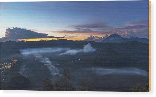 Dawn Breaking Scene Of Mt Bromo Wood Print