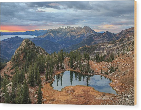 Dawn Glow At Silver Glance Lake. Wood Print