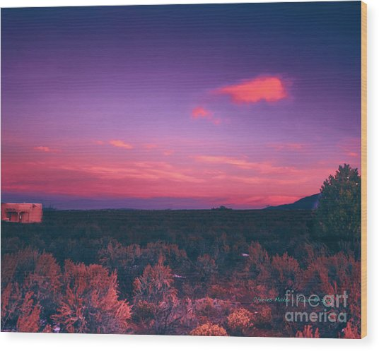 Dawn In Taos Wood Print