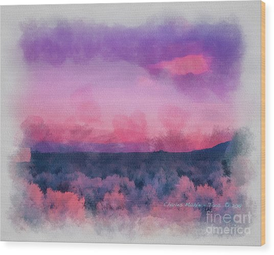 Dawn In Taos In Aquarelle Wood Print