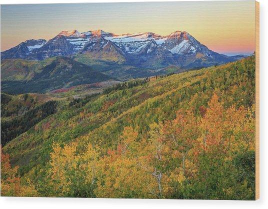 Dawn Light On Mount Timpanogos. Wood Print