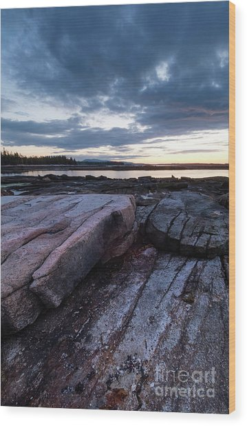 Dawn On The Shore In Southwest Harbor, Maine  #40140-40142 Wood Print
