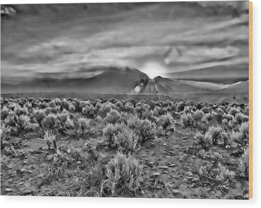 Dawn Over Magic Taos In B-w Wood Print