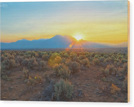 Dawn Over Magic Taos Mountain Wood Print