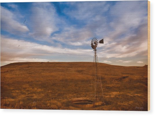 Dawn Prairie Windmill Wood Print