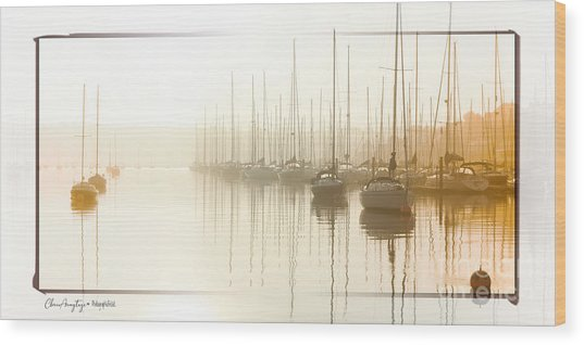 Dawn Reflections - Yachts At Anchor On The River Wood Print