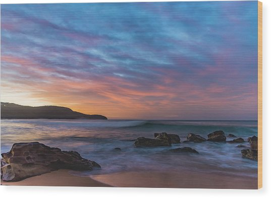 Dawn Seascape With Rocks And Clouds Wood Print