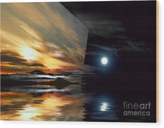 Day And Night Welcome Beach Wood Print