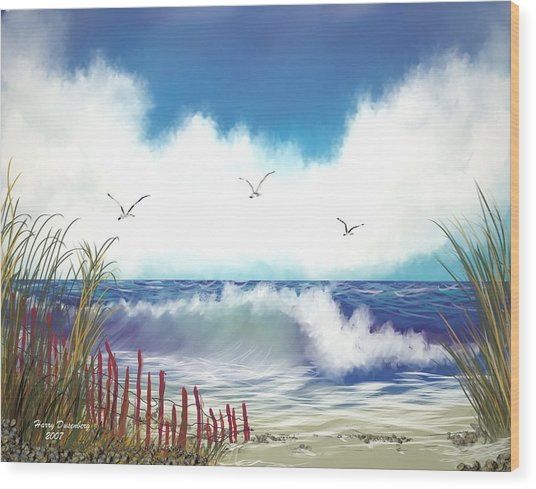 Day At The Beach Wood Print by Harry Dusenberg