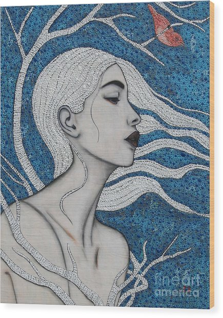 Wood Print featuring the mixed media Day Dreamer by Natalie Briney
