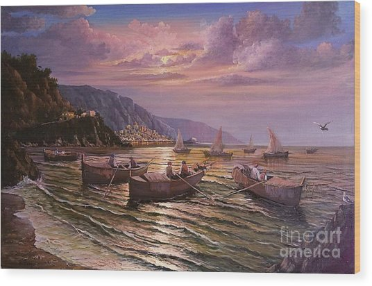 Day Ends On The Amalfi Coast Wood Print