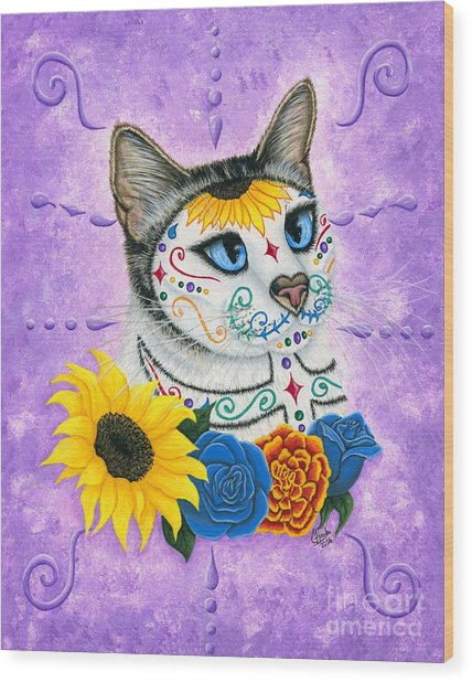 Day Of The Dead Cat Sunflowers - Sugar Skull Cat Wood Print
