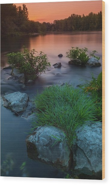 Daybreak Over The Old Riverbed Wood Print
