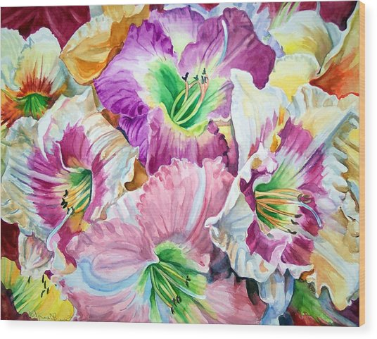Daylilliesll Wood Print by Bette Gray