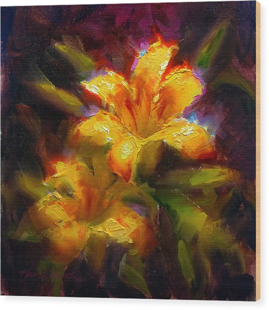 Daylily Sunshine - Colorful Tiger Lily/orange Day-lily Floral Still Life  Wood Print