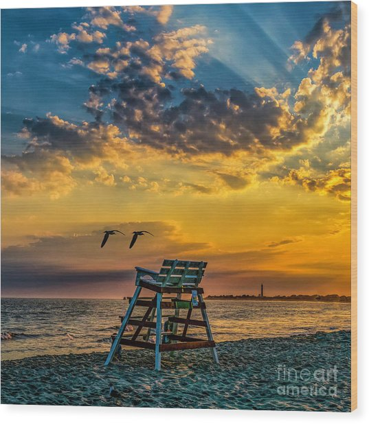 Days End In Cape May Nj Wood Print