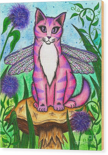 Dea Dragonfly Fairy Cat Wood Print
