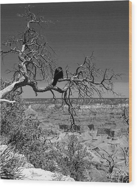 Dead Tree With Crow Wood Print by Michael Perlin
