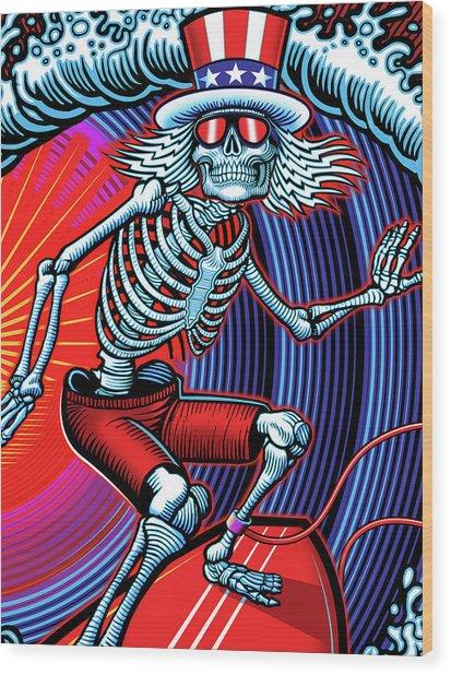 Deadhead Surfer Wood Print