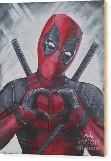 Deadpool Love Wood Print