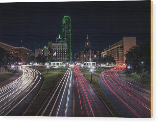 Dealey Plaza Dallas At Night Wood Print