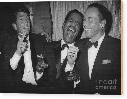Dean Martin, Sammy Davis Jr. And Frank Sinatra Laughing Wood Print