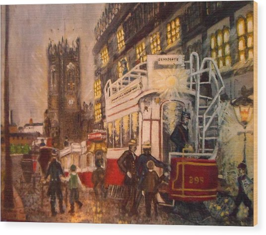 Deansgate With Tram Wood Print