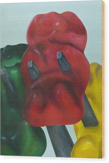 Death Of A Gummy Bear I Wood Print by Josh Bernstein