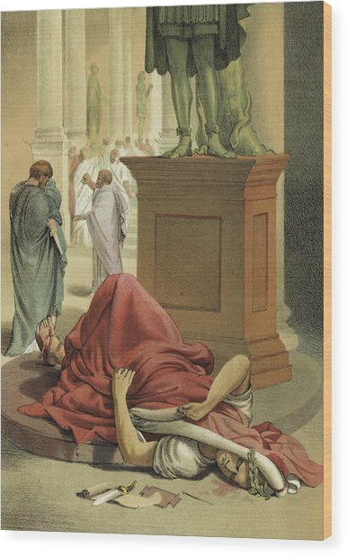 Death Of Julius Caesar, Rome, 44 Bc  Wood Print