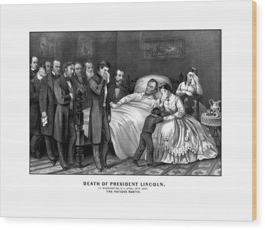 Death Of President Lincoln Wood Print