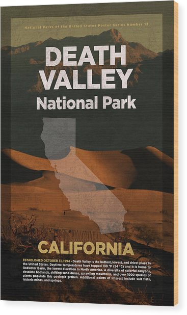 Death Valley National Park In California Travel Poster Series Of National Parks Number 13 Wood Print