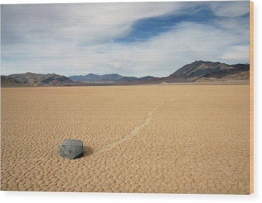 Death Valley Ractrack Wood Print