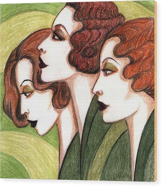 Debutante Trio Wood Print