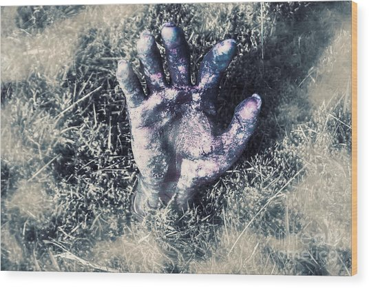 Decaying Zombie Hand Emerging From Ground Wood Print